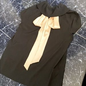 DVF silk SS blouse round collar with cream bow new